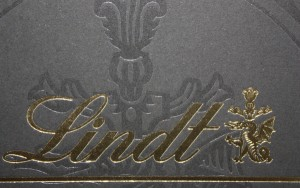 Lindt Cholcolate clear and gold foil stamp