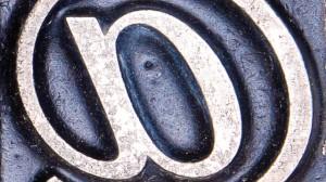letterpress @ symbol hashtag